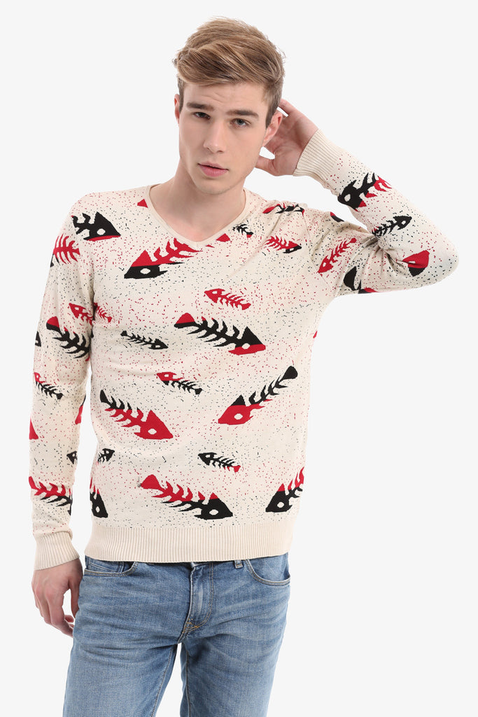 Men's Beige Sweater With Fish Bones