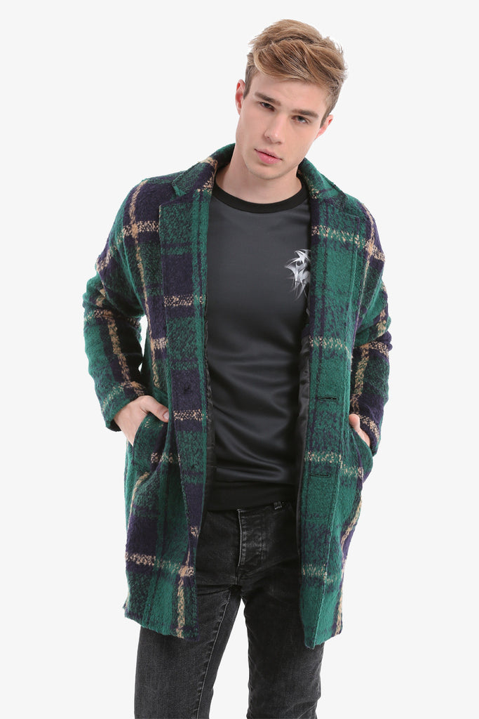 Green Checked Men's Coat