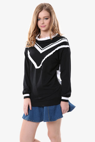 College Style Black Sweatshirt With Zipper
