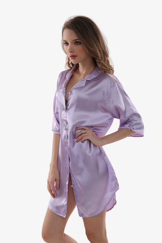 Sexy Silk Purple Sleepwear