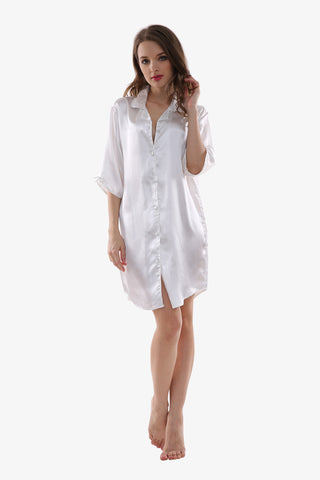 Sexy Silk White Sleepwear