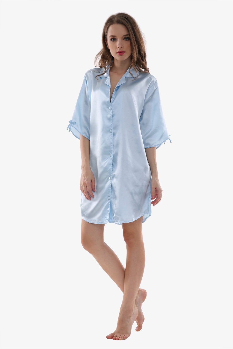 Sexy Silk Light Blue Sleepwear