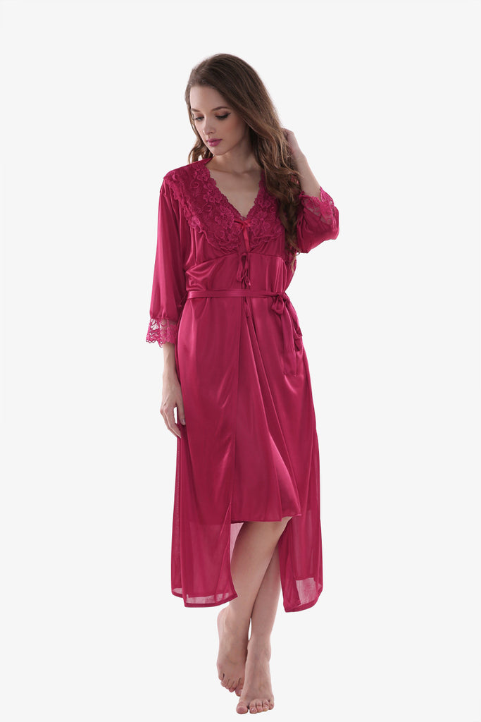 Silk Burgundy Sleepwear