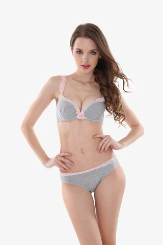 Cute Gray Lace Bra & Panties