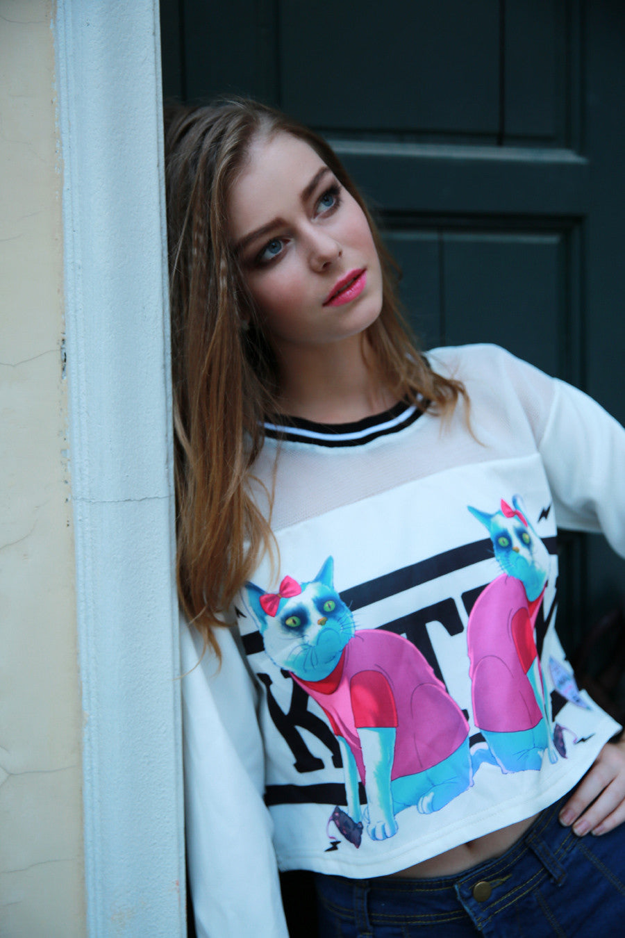 Rock Me Kitty Sweater In White