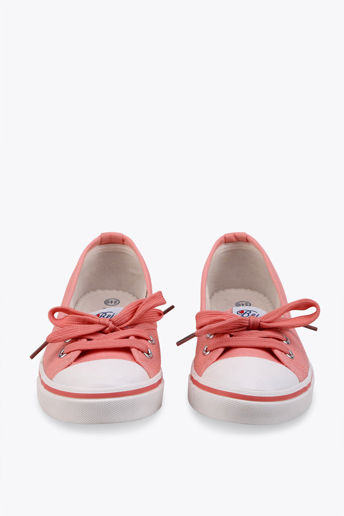 White And Pink Canvas Sneakers