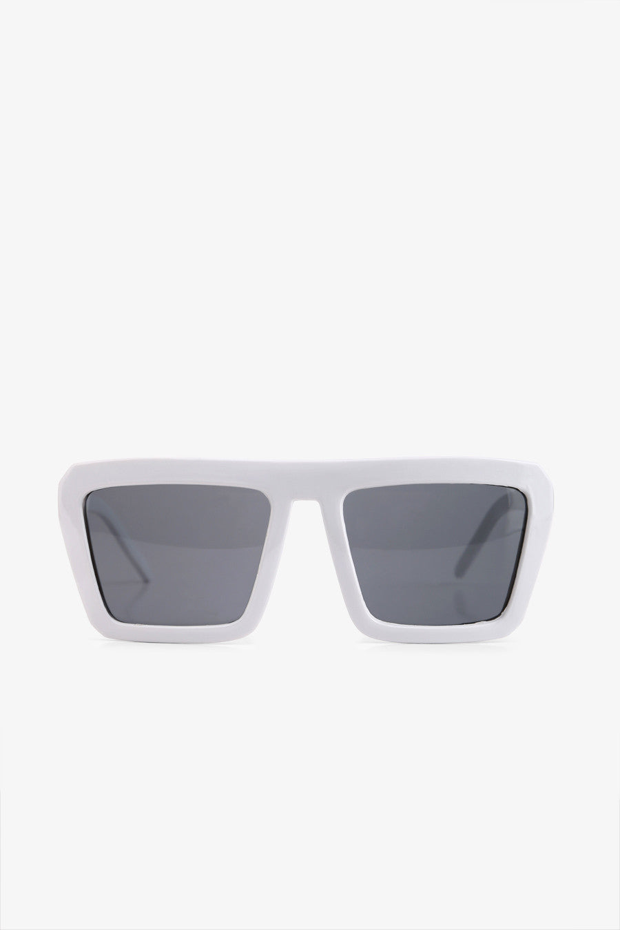 White Frame Square Sunglasses