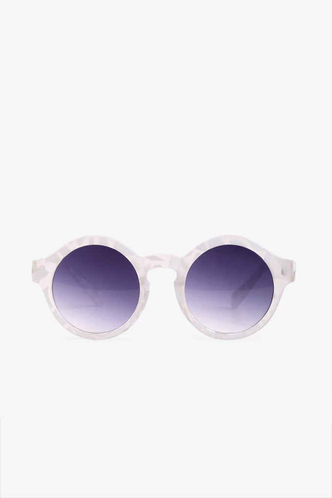 White & Purple Round Sunglasses