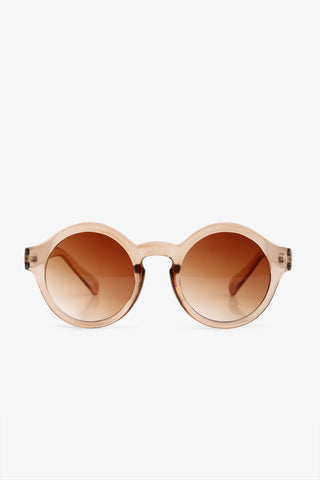 Clear Brown Round Sunglasses