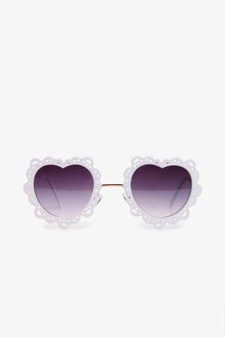 70s White Heart-shaped Sunglasses