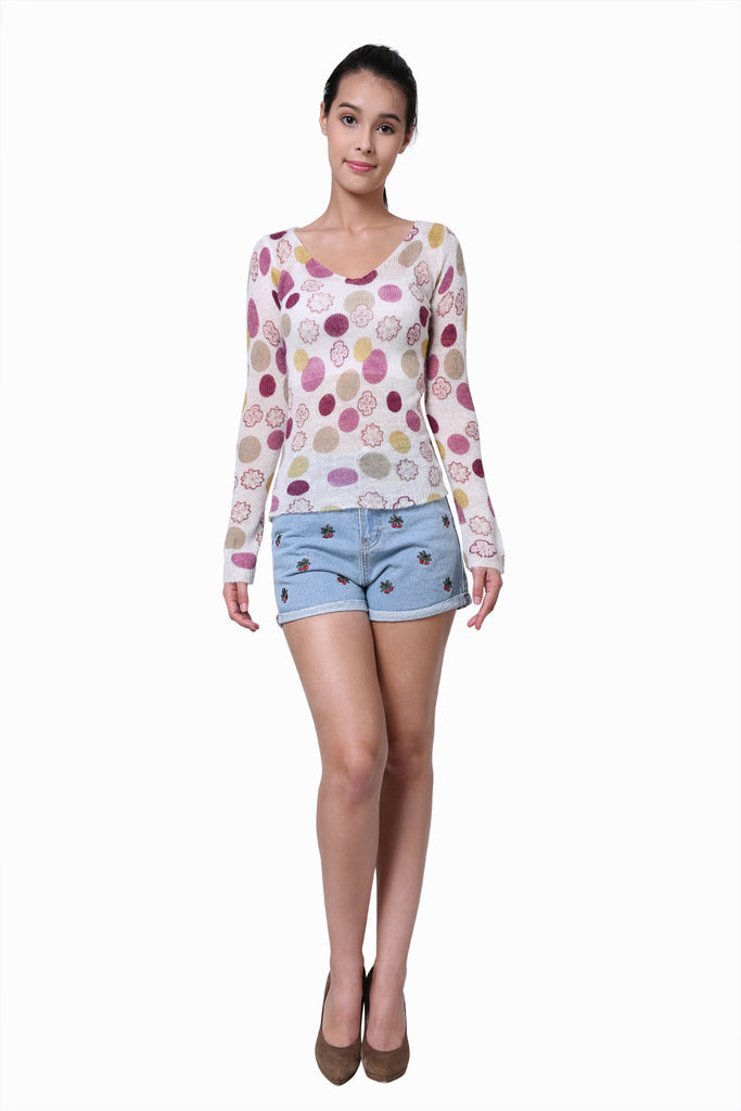 Stretch Candy Dot Sweater In White