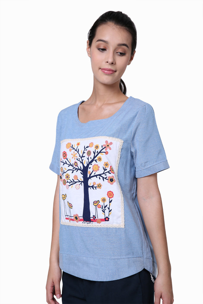 Florals Tree Sky Blue T-shirt