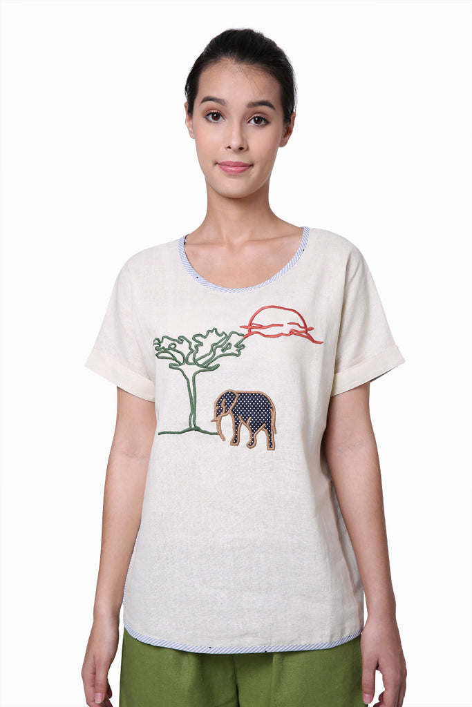 Boho Elephant Embroidered Tee