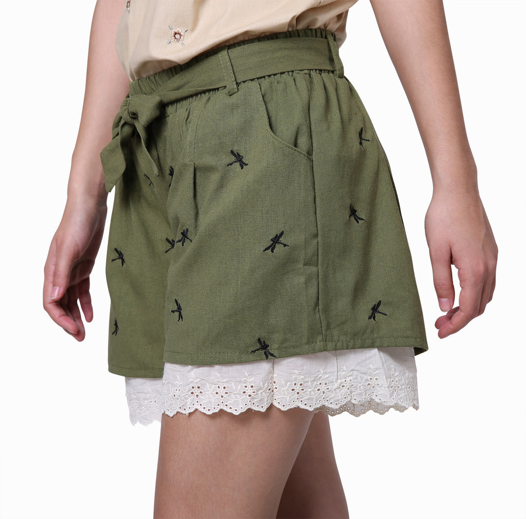 Vintage Green Shorts With Little Dragonflies