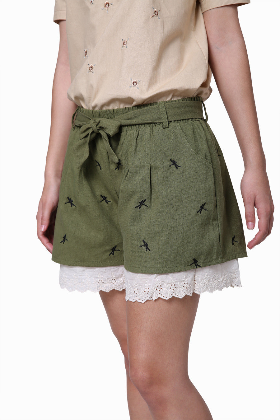 Dragonfly Embroidery Shorts