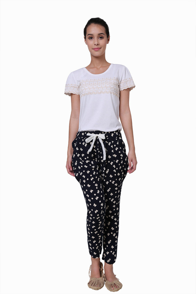Navy Blue Polka Dots Maxi Pants With Butterflies