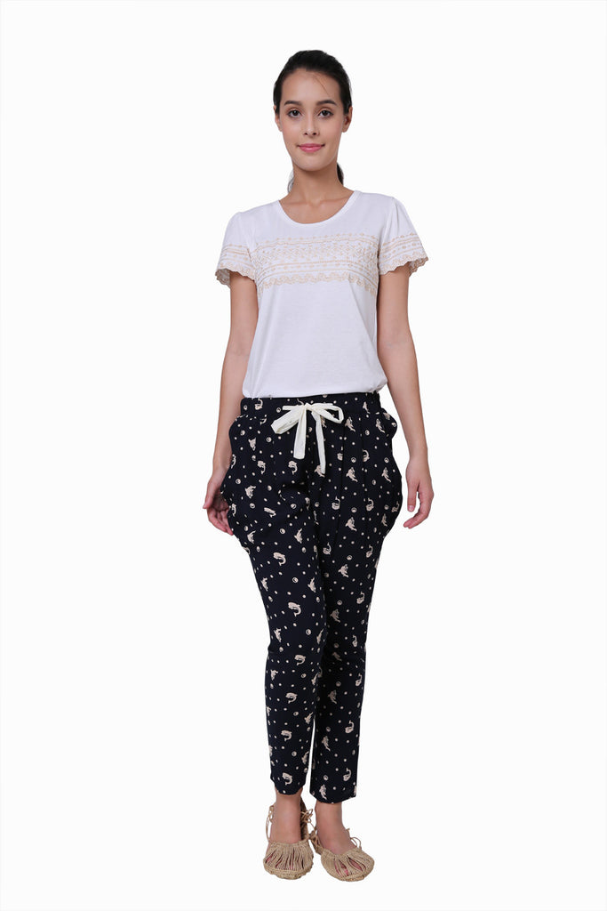 Navy Polka Dots Maxi Pants With Todpoles