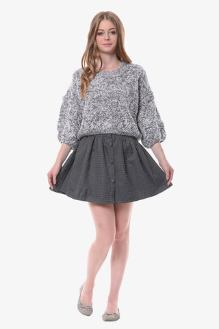 Polka Dot Button Up Skirt In Gray