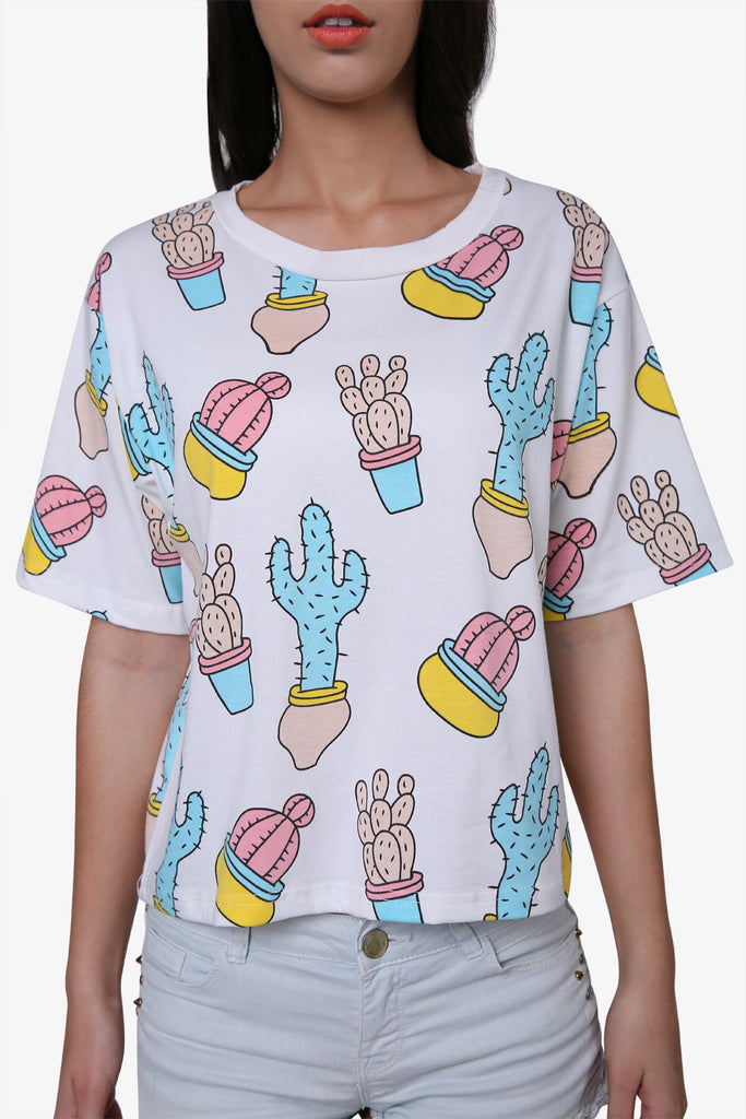 Cute Novelty Cactus T-shirt