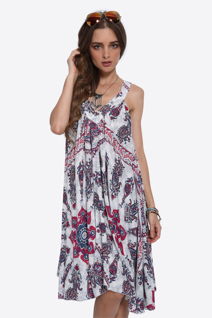 Boho Sleeveless Floral Dress