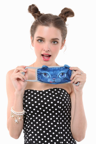 Blue Face Cat Mouth Face Mask