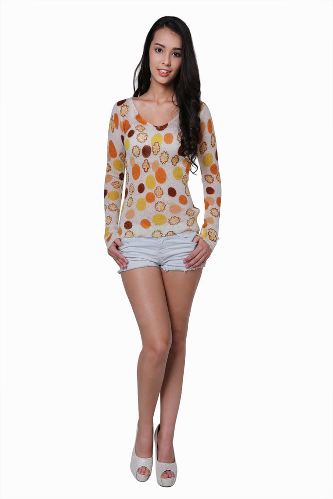 Stretch Candy Dot Sweater In Beige
