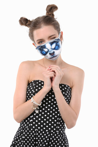 Husky In Blue Mouth Face Mask