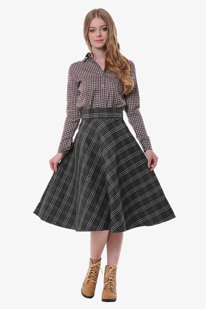 Plaid Skirt In Gray And Black