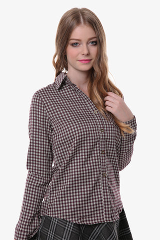 Vintage Plaid Button Down Shirt In Burgundy