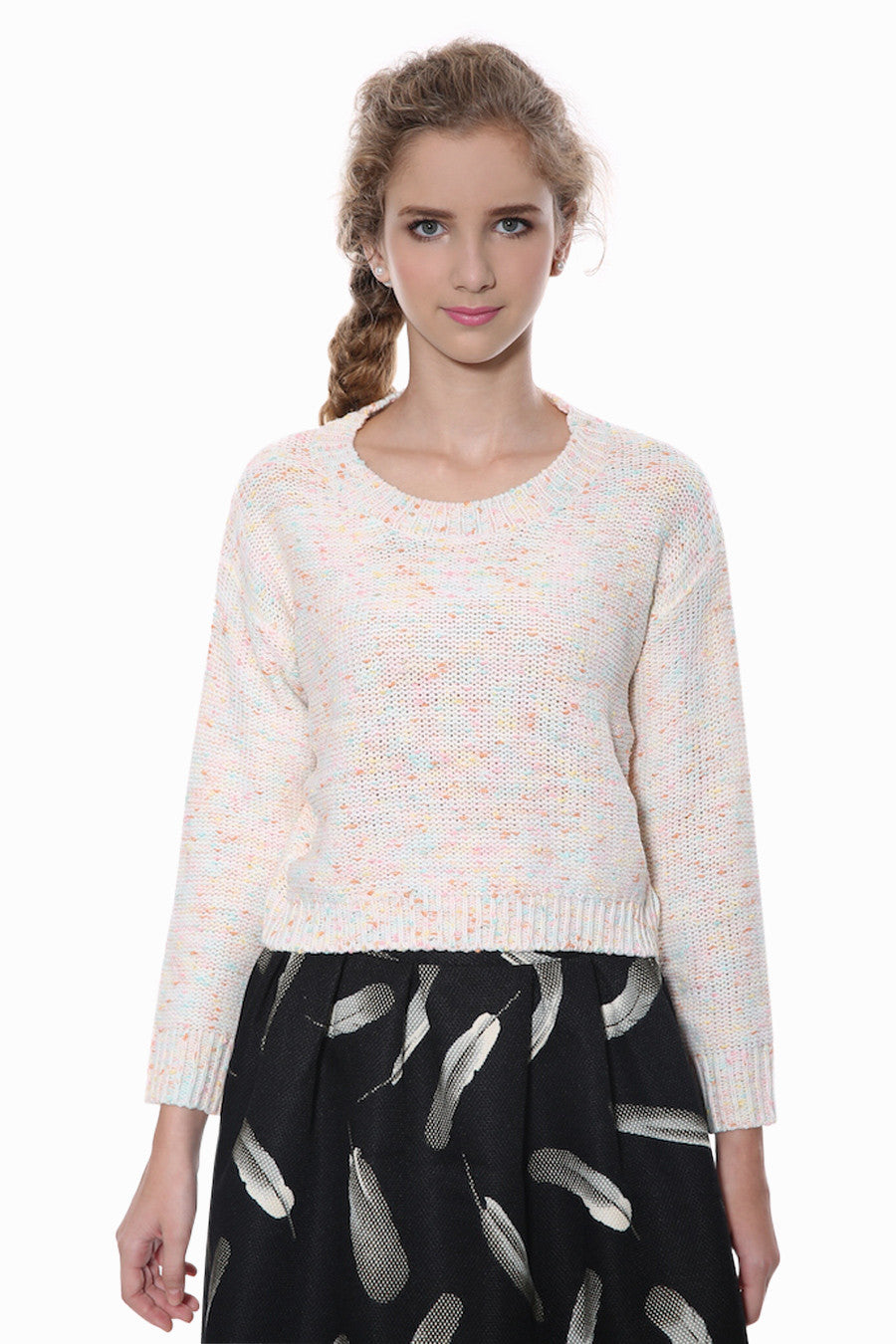 Cute Knit Sweater In Beige