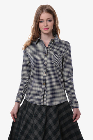 Vintage Plaid Button Down Shirt In Black