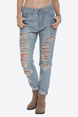 Boyfriend Distressed Chain Jeans