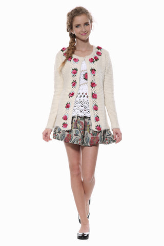 Floral Knit Cardigan In Beige
