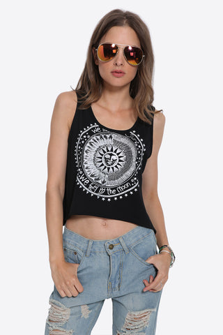 Music Festival Abstract Sun Printed Tank Top In Black