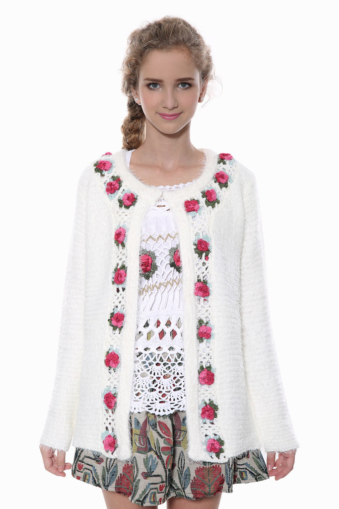 Floral White Knit Cardigan