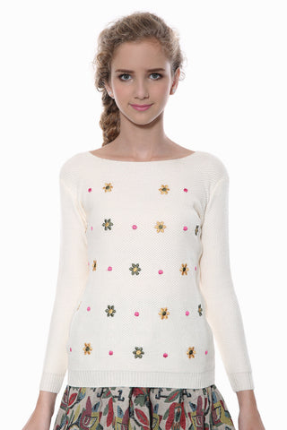 Lovely Floral Embroidery Beige Knit Sweater