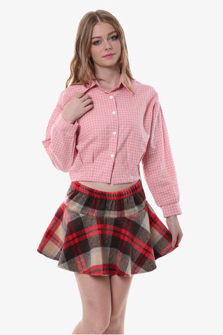 Retro Plaid Crop Top In Pink