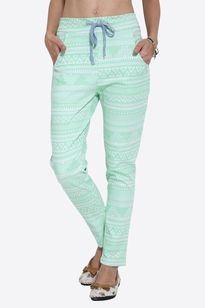 Retro Tribal Pattern Mint Joggers