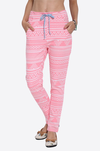 Retro Tribal Pattern Pink Joggers