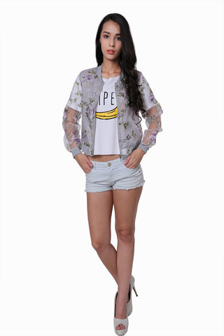 Gray Sheer Floral Jacket