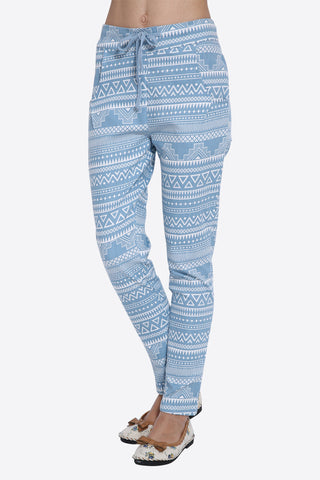 Retro Tribal Pattern Blue Joggers