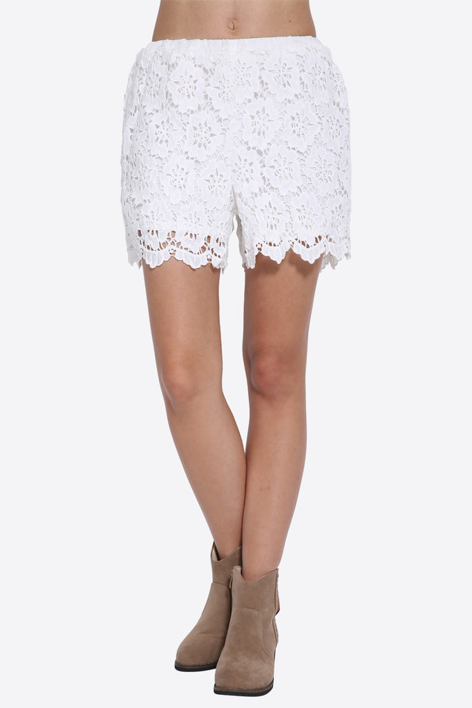 Floral Boho Embroidered Shorts In White