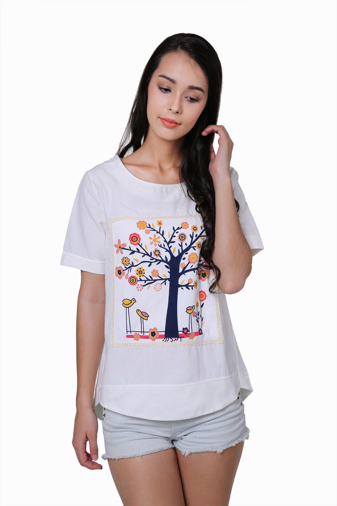 Florals Tree White T-Shirt