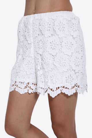 Boho Embroidered Shorts In White