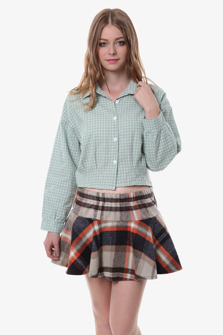 Retro Plaid Crop Top In Mint