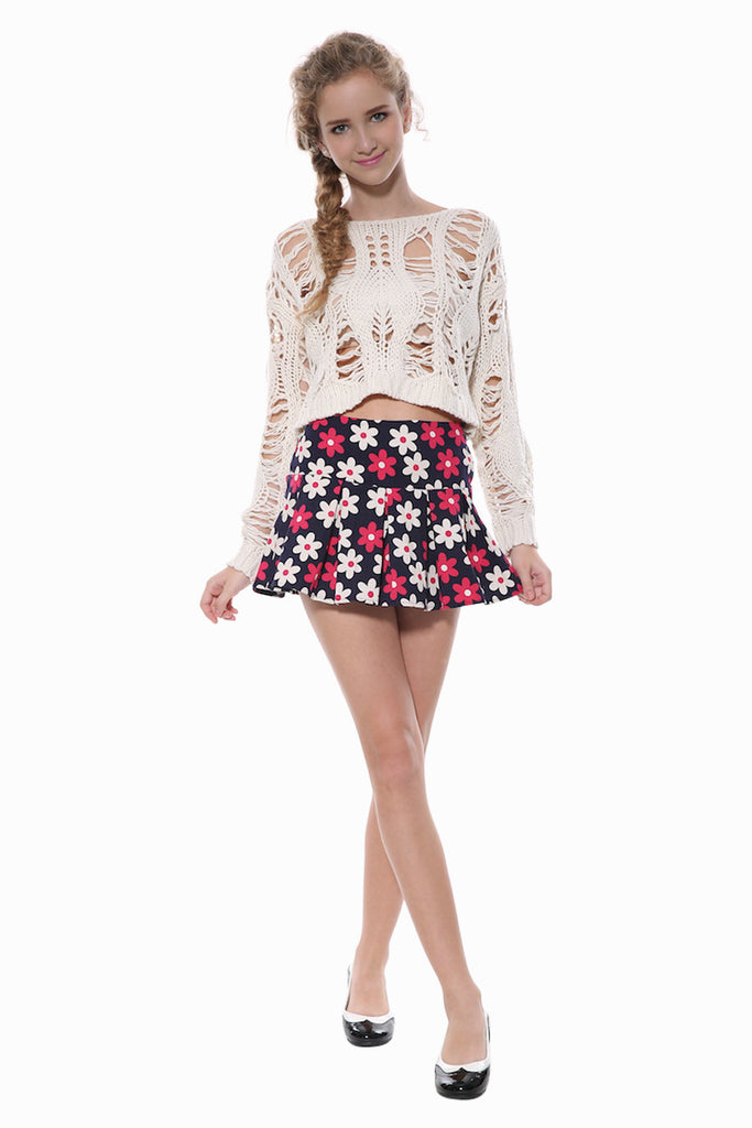Inspired Pleated Floral Skirt