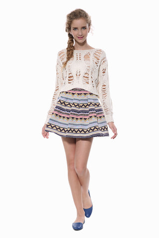 Tribal Print Knit Skater Skirt