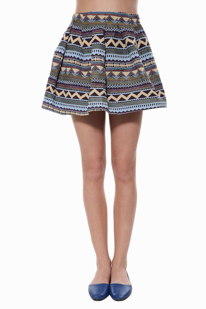 Tribal Print High Waist Skater Skirt