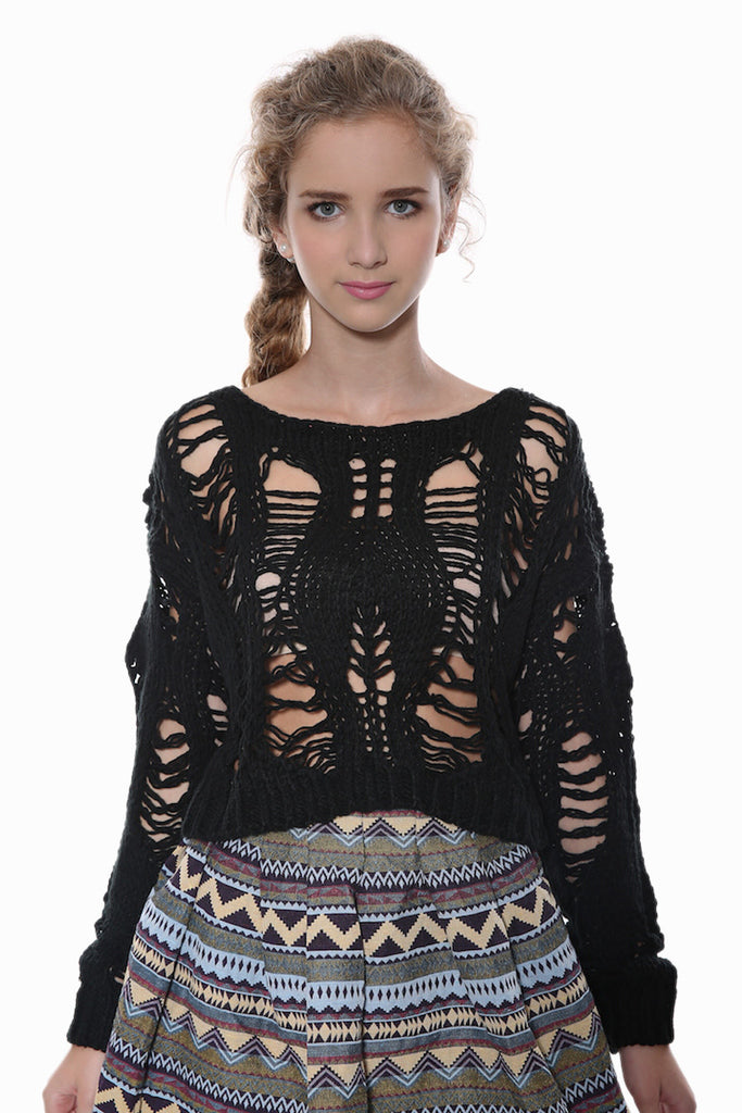 Crochet Crop Top In Black