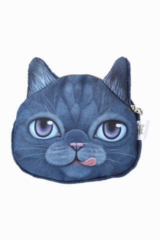 Naughty Blue Kitten Coin Purse